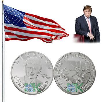5pcs/lot Sample order 2016 US Republican Presidential New York Candidate Trump Silver plated Metal Craft Souvenir Coin