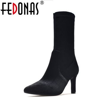 FEDONAS Top Quality Women Sexy Sock Boots Fashon Black Suede Velvet Mid-calf High Boots for Women High Heels Retro Shoes