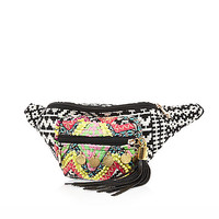 River Island Womens Black embroidered tassel bum bag