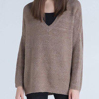 Coffee V-neck Knitted Jumper