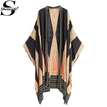 Sheinside Boho Long Blouse 2017 Women Multicolor Vintage Geo Print Casual Summer Tops Fashion New Loose Beach Long Sleeve Kimono