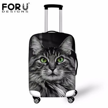 FORUDESIGNS Cute 3D Cat Animal Luggage Protective Rain Covers Made S/M/L Stretch Suitcase Protector Covers For 18-30 Inch Cases