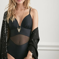 Molded Mesh-Paneled One-Piece