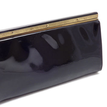 The perfect Black Patent Leather Clutch Purse, Womens Vintage Clutch by Designer Block