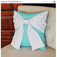 MOTHERS DAY SALE Throw Pillow White Bow on Bright Aqua Pillow 14x14 - Pool Blue Pillow-