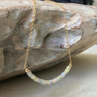 Opal Necklace, Welo Opal Necklace, Ethiopian Welo Opal Necklace, Gold or Silver Genuine Ethiopian Welo Opal Necklace, Genuine Opal Necklace