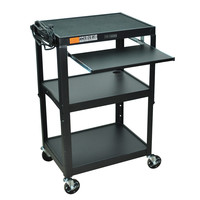 Mobile Stand Up Computer Desk Workstation Cart in Black Steel