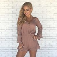 Kiss The Night Romper in Mauve