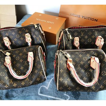 Louis vuitton fashion hit for ladies printed and color-matched hand bill of lading shoulder bag
