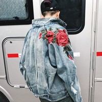 Dropshipping 2018 Spring Flower Jean Jacket