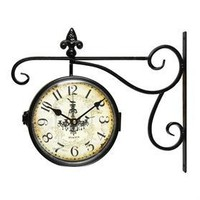Adeco CK0005 Antique Vintage Decorative Round Iron Double Wall Clock- Home Decor
