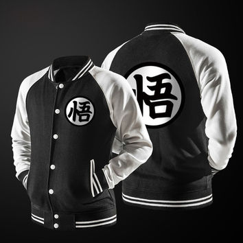 New Japanese Anime Dragon Ball Goku Varsity Jacket 2017 Autumn Fashion Black White Sleeve Fleece Baseball Jacket Sweatshirt Coat