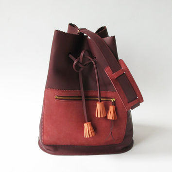 Zig Zag leather bag, Burgundy red, tassels, leather bag, tote bag, shoulder bag, suede