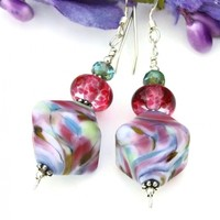 Pink Purple Swirls Lampwork Earrings, Multicolored Handmade Jewelry