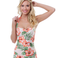 Esther Williams 1950s Style Peach Hibiscus Sheath Swimsuit