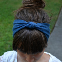 Navy Blue Knotted Sweater Headband