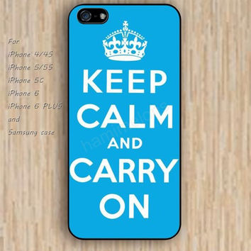 iPhone 6 case keep calm carry on blue iphone case,ipod case,samsung galaxy case available plastic rubber case waterproof B129