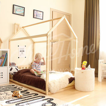 House bed, toddler bed, bed home, frame bed, original bed, home bed, floor bed, baby bed, nursery home design, children bed, SLATS HEADBOARD