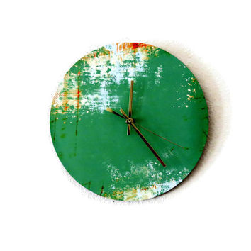 SALE Unique Wall Clock, Etsy Art,  Home Decor, Decor and Housewares, Home and Living, Green Wall Decor, Living Room Clock