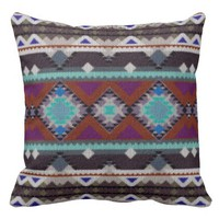 Bohemian ornament in ethno-style, Aztec Throw Pillow