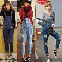 Han edition of new fund autumn winters fashion denim overalls cultivate one'scowboy suspenders female