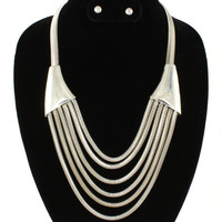 Silver Chain Necklace & Earrings SET