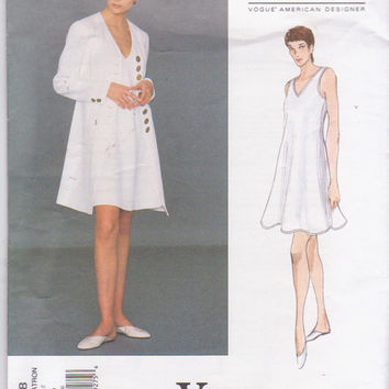 American Designer pattern by Donna Karan for fitted coat with flared, sleeveless, pullover dress misses size 6 8 10 Vogue 1368 UNCUT