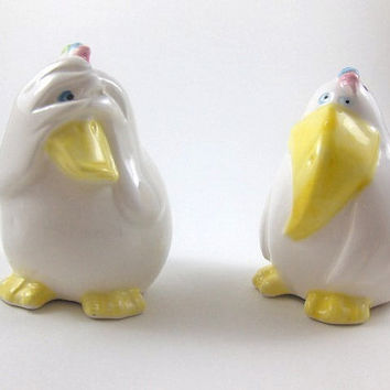 Vintage Rooster and Duck Shakers Rare Silly Funny Salt and Pepper Ceramic Shaker Easter Shakers