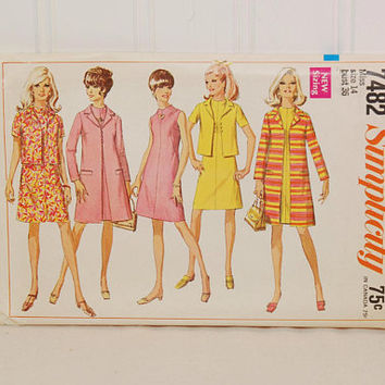 Vintage Simplicity 7482 Misses' Coat, Jacket, Dress Ensemble (c. 1967) Misses' Size 14, Bust Size 36, Business Wardrobe, Retro Chic Style