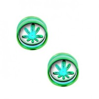 Green Plug Double Flare With Pot Leaf Disc For Internally Threaded Plugs - Sold as a Pair