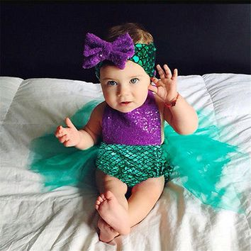 2017 New Summer Romper 2PCS Sequins Mermaid Newborn Baby Girl Romper Jumpsuit Outfits Set+Headwear Costume