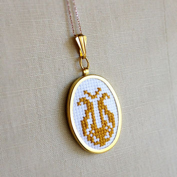 Cross Stitch Necklace Yellow Gold Mid Century Folk Design Flower Pendant