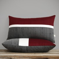 Silk Horizon Line Pillow by Jillian Rene Decor - Merlot, Cream and Gray