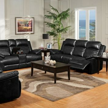 New Classic 20-244-30-20PBK 2 pc cortez collection black leather fusion upholstered sofa and love seat set with recliners