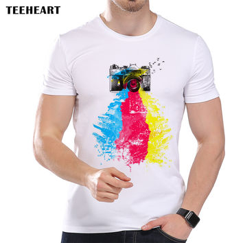 New Summer Rainbow Color Camera Design T Shirt Men's High Quality Tops Hipster Tees