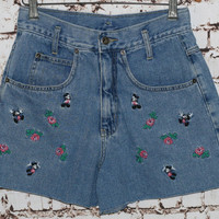 90s High Waist Denim Shorts Mickey Unlimited Disney Minnie Mouse Floral Embroidered Disneyland Mickey Pastel Goth Grunge Kawaii 28 S M Jean