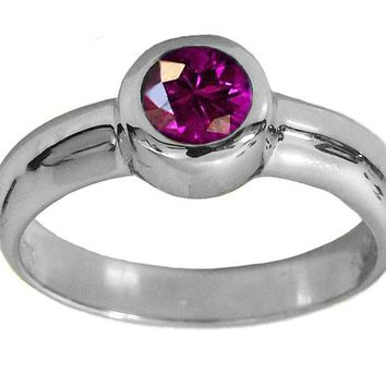 Solitaire Amethyst Ring Halo Ring Engagement Ring Bezel set Purple Genuine Gemstone  in 14K White gold February Birthstone
