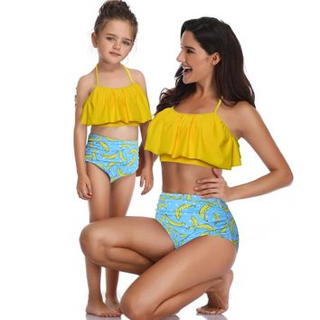 Mother and Daughter Bikini 2019 Women Baby Girl Cute Banana Pattern Swimwear Family Look Swimsuit New Family Matching Clothes