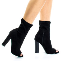 Sage31 by Liliana, Block Stacked High Heel In Above Ankle Bootie & Peep Toe
