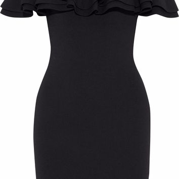 Off-the-shoulder ruffle-trimmed ribbed-knit mini dress | LINE | Sale up to 70% off | THE OUTNET