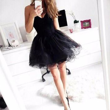 MGS New Black Sexy Sweetheart Sleeveless Cocktail Dresses 2016 Mini A Line  Tiered Prom Gowns Vestido De Festa Curto