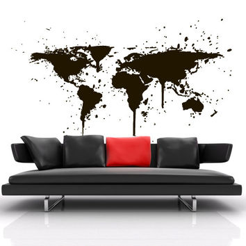 Wall Decal Vinyl Sticker Art Decor Design World Travel Map countries City ink Stain paint drip Bedroom Dorm Gift Bedroom (m1389)