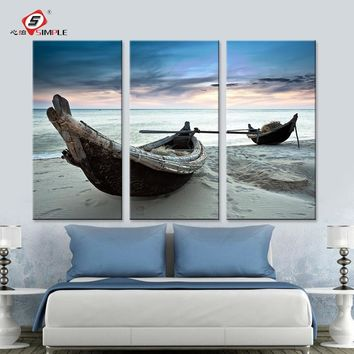 Dropshipping Oil Painting Wall Art Canvas Prints Beach Landscape Boat Modern Wall Pictures For Living Room Home Decoration 3pcs