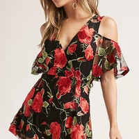Embroidered Rose Romper