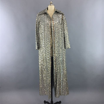Vintage 1960s Sequin Trench Coat / Silver Sequined Wedding Party Coat – ThisBlueBird - Modern Vintage