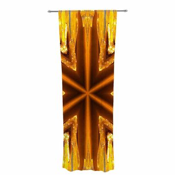 "Philip Brown ""Gold Star Icicles"" Gold Blue Decorative Sheer Curtain"