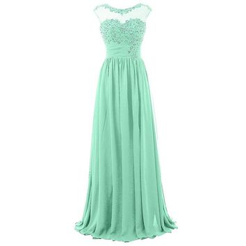Blevla Cap Sleeve Sequined Chiffon Bridesmaid Prom Dresses Formal Gowns