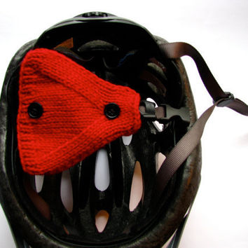 Red Bike-Bicycle Helmet Ear Warmers Hand Knit by GretaHoneycutt