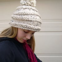 Alpine Pom Pom hat, Aspen Winter Fashion 2014, Cream cozy hat, Cream pom pom hat, handknit warm hat, unique chunky hat