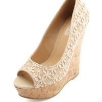 Crocheted Lace Peep Toe Platform Wedges - Off White